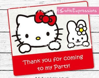 Hello Kitty Birthday Labels - Goody Bag tags - Hello Kitty Party theme