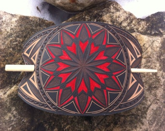 Large geometric hand carved leather hair barrette - tooled leather jewelry