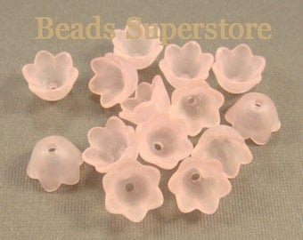 SALE 10 mm x 6 mm Pink Lucite Flower Bead - 20 pcs