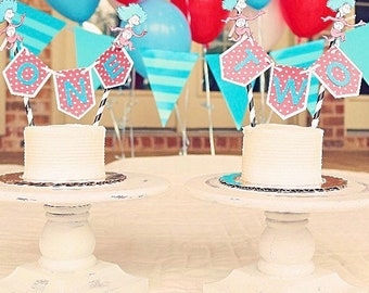 Thing 1 and thing 2 cake bunting