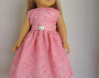 18 Inch Doll Dress/18 Inch Doll Clothes/Pink Lace Dress/Satin Bow/Silver Button