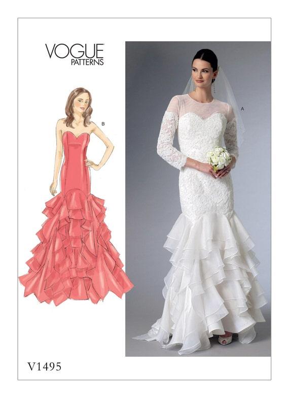 1495 Vogue Wedding Dress Pattern Mermaid Dress Bridal