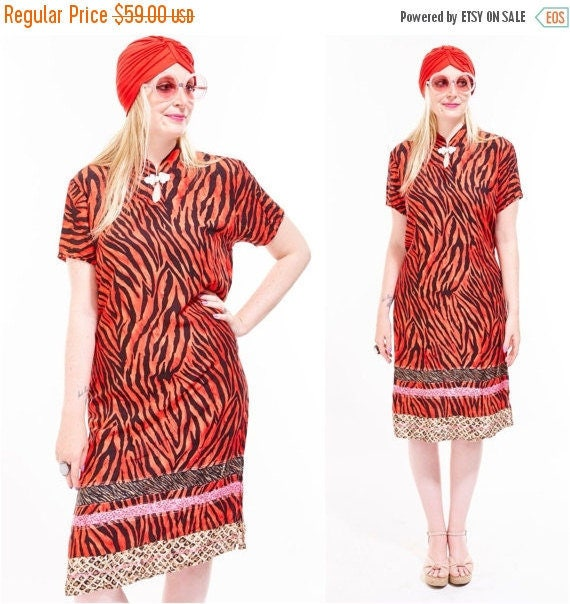Vtg ZEBRA Safari Animal Jungle MIXED PRINTS Shift Tunic Midi Dress Caftan Beach Coverup Boho Avant Garde Mandarin Festival Ethnic Tribal