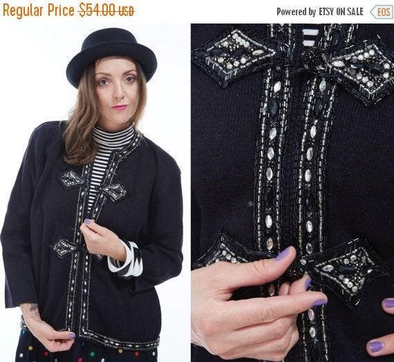 Vtg 80s Deadstock Rare Sample BONNIE BOERER Designer SEQUIN Beaded Ornate Cardigan Sweater Zip Jacket Blazer Avant Garde Studded Glam Kitsch
