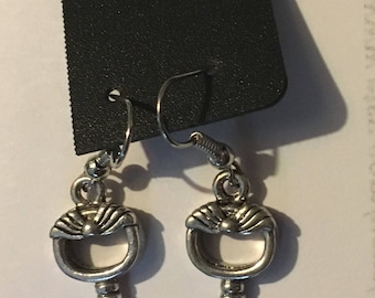 Antiqued Silver Key With Cat Vintage Style Drop Earrings
