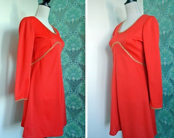 Vintage 1970s Red and Gold Mod Space Age Tunic Mini Dress