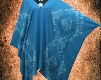 Bleach Effect Wearable Art V neck Hand dyed Poncho Tunic Top