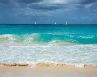 Waves and Sailboats at Mullet Bay Beach, St. Maarten, St Martin, Caribbean art, tropical decor, caribbean print, ocean decor, nautical decor