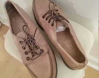 Vintage Dexter Boat Shoes/ Beige leather boat shoes/  7 1/2 N