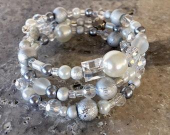 Bracelet - ZOE Silver & White Triple Wrap Bracelet