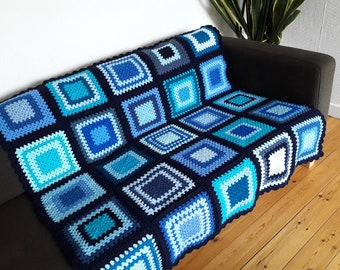 Crochet Blanket Blue Crochet Blanket Blue Afghan Blanket Blue Crochet Afghan Blue Throw Blanket Crochet Afghan READY TO SHIP