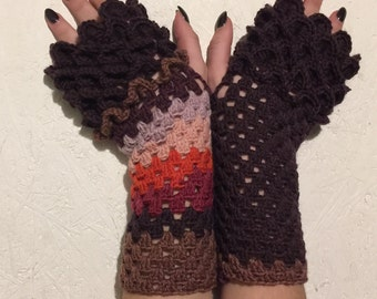 new crochet gloves Fingerless crocodile stich women fingerless gloves dragon scale  women's gloves women's Arm Warmers  gift Accessory