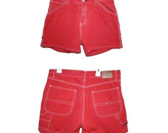 Vintage Red Tommy Hilfiger High Waisted Shorts Size 10, Tommy Hilfiger Shorts, 90s Tommy, Grunge Shorts, Grunge Clothing, High Waisted Denim