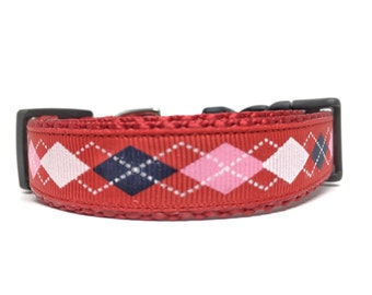 Preppy Argyle Dog Collar Small