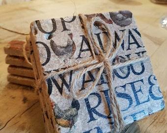 Shabby chic rustic stone coasters - set of 4 - emma bridgewater inspired