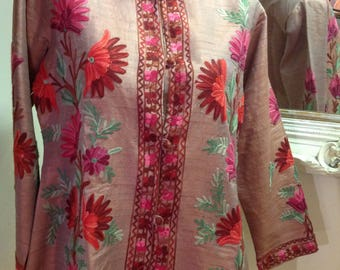 Raw silk embroidered jacket