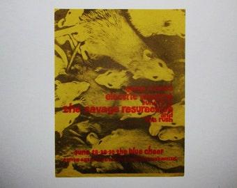Rare/1968/ORIGINAL/BLUE CHEER/Rush/ Savage Resurection/Psychedelic/Bands/ Vintage/Rock/Concert/Flyer/Poster/ Printed/Art/Collectible/Advert