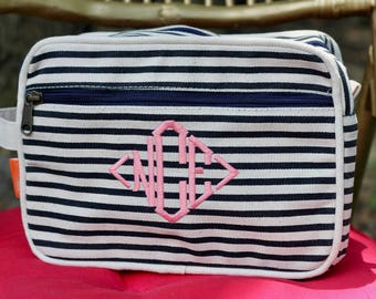 Monogrammed Makeup Bag   Cosmetic Bag   Makeup Bag   Travel Bag   Gifts for Her   Monogram Gifts   Personalized Gifts   Navy Gift l Striped