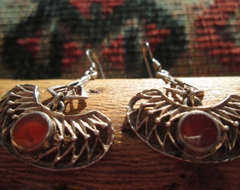 Unique Amber and Sterling Dangle Earrings