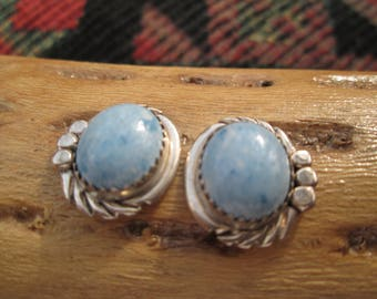 Denim Lapis and Sterling Post Earrings