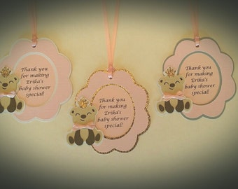 Baby Girl Favor Tags - Baby Shower Favor Tags - Thank You Favor Tags Set of 12