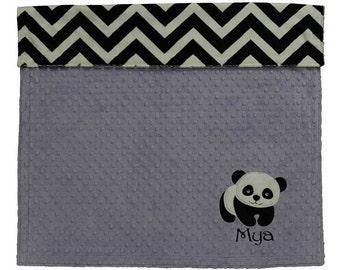 Panda Bear Baby Blanket, Personalized Chevron Minky Baby Blanket, Lavender and Chevron Panda Baby Girl Blanket, Panda Nursery