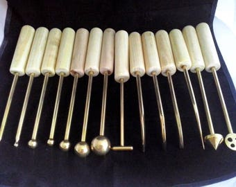 14 Brass High Quality Handmade Millinery Flower Making Tools with Wooden Handles