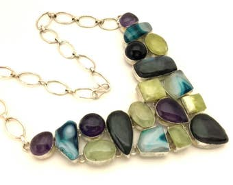 Necklace Collar Multicolored Stone Excellent Solid Silver 925 Vintage Excellent Work