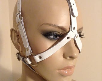 White Leather Open-Faced Head Harness