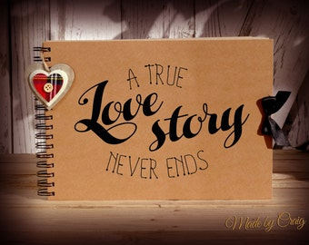 A True Love Story Never Ends, Scrapbook, Photo Album, Couples Gift, Honeymoon/Engagement/Wedding Gift Idea, Gift for Her, Love Heart