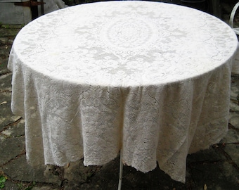 Ivory quaker lace tablecloth, cream rectangle tablecloth, vintage mid century tablecloth, shabby cottage chic decor, 62 x 74 inches