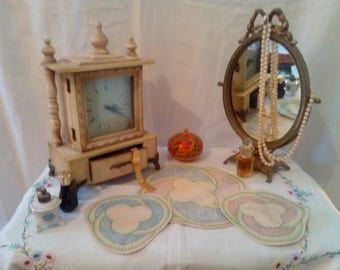 Vintage   embroidered dressing table set