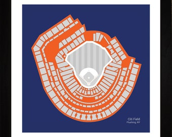 Citi Field, New York Mets, Stadium, Seating Art Print, Baseball Gift, 16x16, SNYMB1616
