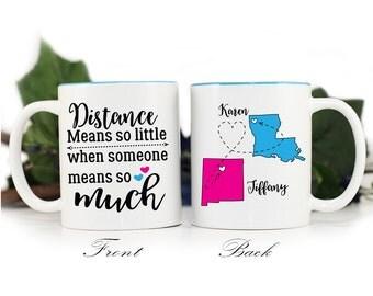 Distance means so little mug,Gift for Friend,Long distance friend,coffee mug,gift for friend,BFF mug,long distance relationship,MUG-389