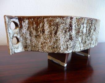 Mid Century Japanese Ikebana Textured Pottery Vase