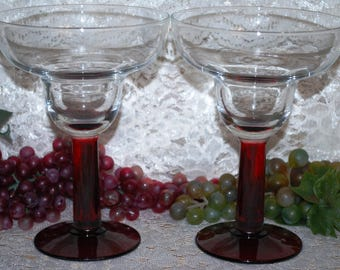 "2 Pc Set 10 Oz Clear Glass W/ Red Stemmed  6-1/4"" Margarita Glasses"