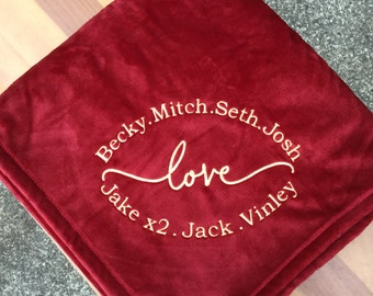 Personalized Embroidered Plush Throw Blanket / Grandparents / Mom / Grandma / Circle of  Love