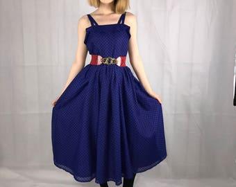 1950's Blue Polka Dot Dress