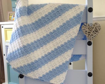 Blue and White stripy blanket ideal Baby blanket,lap blanket, car seat blanket,cot.Blue & White striped blanket  for baby or your knees