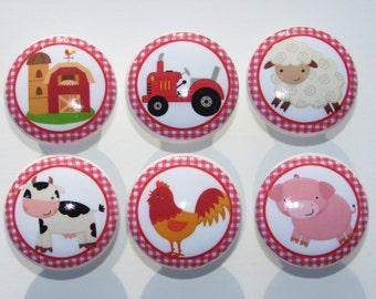 Farm Dresser Drawer Knobs Set of 6 Barn Tractor Pig Chicken Cow Sheep