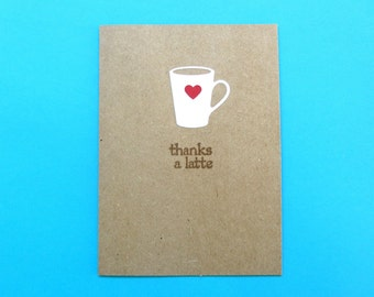 Thanks A Latte Card - Coffee Thank You Card - Coffee Cup Card - Coffee Note Card - Coffee Lover Card - Coffee Stationery - Kraft Thank You