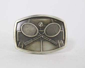 Vintage Pewter Tennis Rackets Belt Buckle, 1977 Indiana Metal Craft