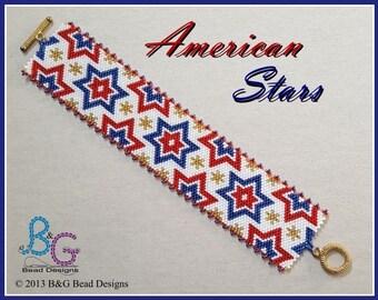 AMERICAN STARS Peyote Cuff Bracelet Pattern