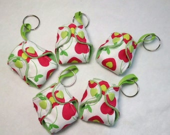 Cherry Heart print Basic Cloth Diaper Keychain diaper ornament, Diaper key chain diaper key fob