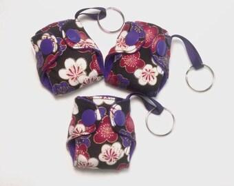 "Cloth diaper keychain, 2"" basic flower print diaper key chain"