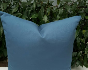 "Outdoor Sunbrella Sapphire Blue Fabric Decorative Throw Pillow Cover Size from 14""x14"" to 26""x26"" with Zipper"