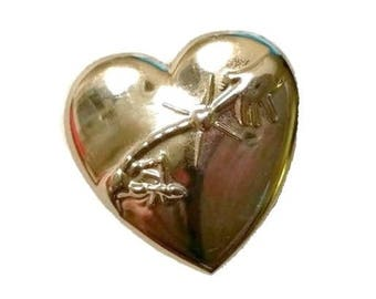 Vintage 80s ET Heart Brooch Collectible Movie Memorabilia 1980s ET Fan Lover Broach Childrens Variety Club ET Phone Home Anniversary Gift