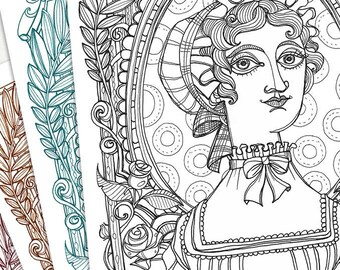 Coloring page A4-  NEW Jane Austen portrait - Instant download- Art Printable Pattern