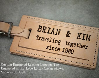 LEATHER LUGGAGE TAG, Custom luggage tag, Travel Gift, Vacation Gift, cruise gift, engraved tag, vacation gift, Gift Boxed Free!