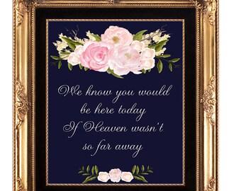 in loving memory sign, heaven wedding sign, printable wedding sign, navy wedding sign, memory wedding sign, 8x10, in loving memory